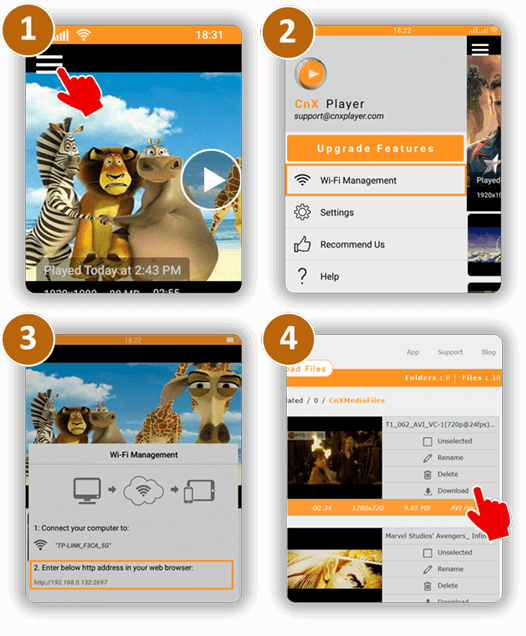 WiFi Videos Transfer From Phone/Tablet to PC | CnX Player | Android - Phone / Tablet | Google Play